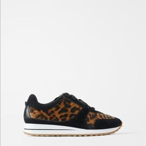 New Zara animal print leopard sneakers size 9